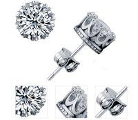 Boucles d'oreille en argent sterling 925 diamants couronne en cristal naturel en gros mode petit bijoux pour femmes ou hommes cadeau d'engagement de mariage