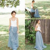 Мода Тюль сшитое Country Garden платья невесты Scoop-линии Длинные фрейлин RUFFLE Дешевые 2017 г. Bridesmaids Gowns