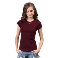 High Quality 18 Color S- 3XL Plain T Shirt Women Cotton Elast...
