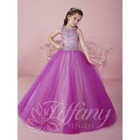 2017 Cute Фиолетовый Дешевые маленькие девочки Pageant платья Тюль Sheer шеи экипажа из бисера Кристаллы корсета цветка девушки День рождения принцессы платья