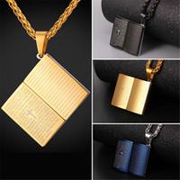 U7 Blue Bible Book Pendentif Collier en acier inoxydable / plaqué or Chaîne de corde Croix Christian Jewelry pour femmes / hommes Accessoires parfaits GP2436