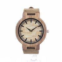Montre de luxe de marque simulation en bois hommes montres en bois de couleur bracelet en cuir Tan regarder montres de poignet d'antiquité