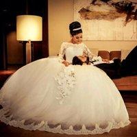 Роскошные бальные платья Свадебные платья 2017 года Саудовская Аравия Sheer с длинным рукавом Кружева аппликация Свадебные платья Свадебные платья сшитое Дубай