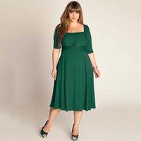 Plus Size Dresses Scoop Neck Mid Calf Short Sleeve Panelled ...