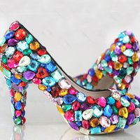 Princess candy colorful wedding shoes 4' ' crystal ...