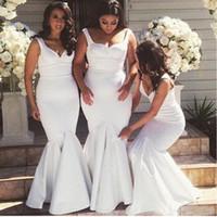 Белый Русалка Bridesmaids платья ремни 2017 Длинные Простой лето горничной честь халатов Платье De Madrinha Лонго