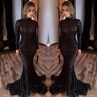 2017 Michael Costello Vestidos Long Sleeve Prom Bling Bling Preto Sequins Alto Pescoço Mermaid Sexy Celebrity Vestidos Vestidos de noite Pageant