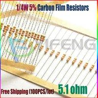 Wholesale- NEW 100pcs 5. 1 ohm 1 4W 5. 1R Carbon Film Resistor...