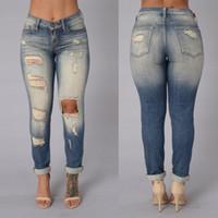 Cotton Denim Pants Hole Pants Bleached Pants Womens Bleach R...