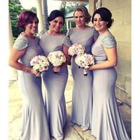 Выполненные на заказ лаванды Русалка Короткие рукава платья невесты из бисера Sexy Backless Длинные выпускного вечера платья свадебные платья гостей Bridesmaids