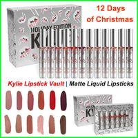 Горячая продажа Кайли 12 дней Рождества Помада Vault Праздник Помада 12pcs комплект Матовый Liquid LipGloss Lips Makeup свободную перевозку груза