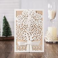 Modern lace tree folded laser cut wedding invitations natura...
