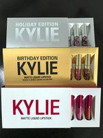 En la acción 20 sistemas Kylie Mini Kit HOLIDAY / cumpleaños / edición de San Valentín 6Pcs KIT MATTE LIQUID LIPSTICKS GLOSS lápices labiales matte lipstick collection