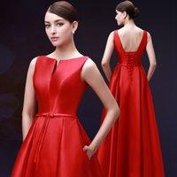 New Design Red Long Prom Dresses A- Line Backless Ankle- Lengt...