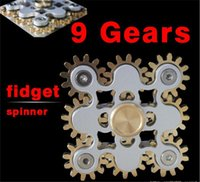 Figet spinner handspinner Gadget 9 GEAR Jambe à main fouet jouet Steampunk fidget machine à 9 roues Top Gyro Gyro Décompression