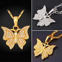 U7 Belle Cubic Zirconia collier pendentif papillon pour les femmes Trendy Gold / platine plaqué Bijoux Fashion Perfect Zirocnia Collier Cadeaux