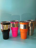 На складе Рамблер 10шт большой емкости 30OZ нержавеющей SteelTumbler Ручка для автомобилей Американский стиль путешествий Кружка кофе Чайные чашки с логотипом