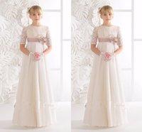 Элегантный белый кружева половину рукава цветок девушки платья 2017 сладкий драгоценности шеи этаж длины рождения платья Sashes Custom Made