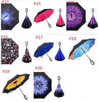 Nuevos altavoces invertidos creados doblan la capa doble con la manija de C adentro hacia fuera el paraguas a prueba de viento reverso 20 colores