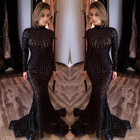 2017 Michael Costello Long Sleeve Prom Dresses Bling Bling Black Sequins Alta Pescoço Mermaid Sexy Celebrity Gowns Vestidos de noite