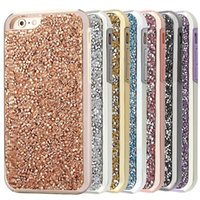 Hybrid 2 en 1 Diamond Rhinestone Bling Housse de protection TPE + PC pour iphone 7 6 6s plus 5s Samsung Galaxy S8 S8 Plus avec package