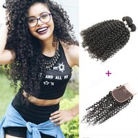 Afro Kinky Curly Hair 3 Bundles With Lace Closure Natural Bl...