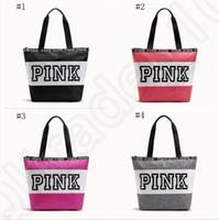 Rosa bolsas de letras mulheres impermeáveis sacos de compras Messenger Bag sacos de ombro grande capacidade listrada viagem duffle saco de praia OOA1056
