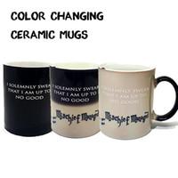 Couleur changeant céramique Mugs les meilleurs cadeaux harry potter en céramique sensible à la chaleur magique pleine couleur changer tasse thé tasses DHL Free OTH326