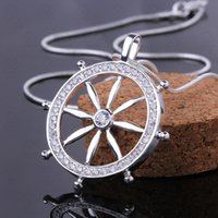 Personality element ship rudder Style Men' s necklace fa...