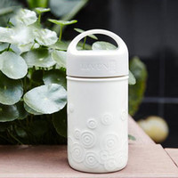 300ml Ceramic cup with lid Monolayer Handy cup with hand Mug...