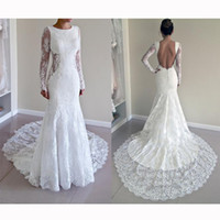 Sexy Backless Mermaid Wedding Dresses Jewel Illusion Long Sl...