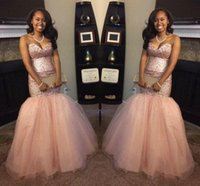2017 Peach Black Girl Backless Mermaid Prom Dresses Sequins ...