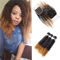 Ombre Kinky Curly Hair Bundles With Lace Closure T1b 4 27 Bl...