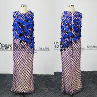 2016 Vintage Royal Blue Вечерние платья Sexy Оболочка рукавов ручной работы Цветы Major Бисероплетение Пром платья