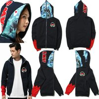 Creative Fashion Shark Head Cardigan Zipper Couple Hoodies &...