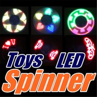 DHL LED Light Up Fidget Spinner avec 6 perles LED 3 Patterns CE RoHs Boîte en métal Boîte remplaçable Tri-spinner EDS LED Spinners Toys P-ZJ