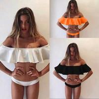 2017 styles d'été Triangle bretelles en dentelle Crop Top Sexy Bikini Set femmes plus taille de maillot de bain d'épaule Swimwear maillot de bain QP056