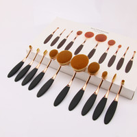 High quality tooth make up brush 10PCS oval makeup brush set...