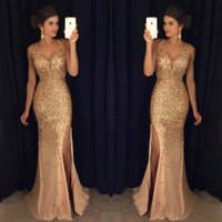 2017 Hot vendendo ouro Blingbling Major Beading High Split Prom Vestidos V-neck com cristais de sereia Sexy Vestidos de noite