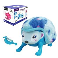 DHL Interactive Pet Hedgehog con Multi-modos Luces Sonidos Sensores Light-up Eyes Wiggy Nariz Walk Roll Headstand Curl hasta Giggle Toys for Kid