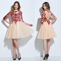 Custom Made 3 4 Long Sleeves A- Line Cocktail Dresses Short J...
