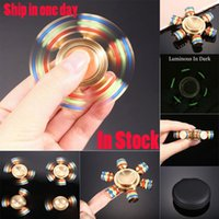 Brass Hexagonal Fidget Spinner Hexa-spinner EDS Rotation anti-stress Spinners en métal Cooper Fidget Spinner Decompression Nouveauté Toy
