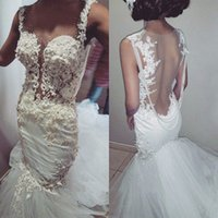 2016 Sexy Beaads Appliques Mermaid Wedding Dress Backless Fl...