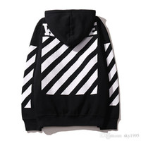 2016 OFF WHITE mens pullover stripe offset print hoodies fle...
