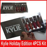Новые Кайли Холидей Kit 4шт издание матовая жидкая помада Gloss Помада матовая губная помада Коллекция комплект для Рождественский подарок от идеи