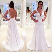 2017 Backless Wedding Gowns A- line Chiffon Appliqued Lace V-...