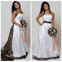 Halter Camo A- Line Wedding Dresses With Detachable Chapel Tr...