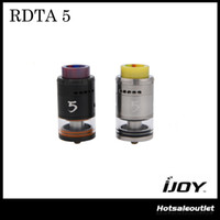 Authentique IJOY RDTA 5 Tank wtich 4ml e-Juice Capacité Résine Drip Tip Reboisable reconstruable Flux d'air réglable Top Fill