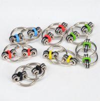 Hand Fidget Spinner Porte-clés Fidget Keyring Chain HandSpinner Finger Gyro Décompression Toys OPP Sac Package OOA1301