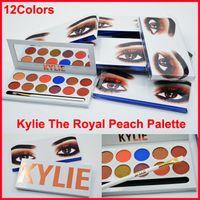 2017 Кайли Kyshadow The Royal Персик Palette Eyeshadow 12color глаз Палитра теней с ручкой щетки Дженнер Cosmetics Free DHL